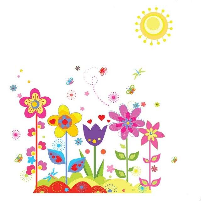 Kids Room Cartoon Removable Wall Stickers Sunshine Flowers