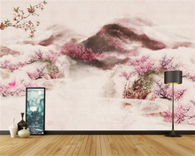 beibehang New Chinese TV background wall paper landscape peach personality decorative painting wallpaper papier peint