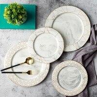 Европейский стиль золотой проволоки мраморные плиты керамический столовый сервиз фарфоровая десертная тарелка Стейк Салат закуски торт т...