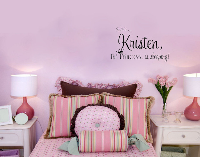 Personalized Princess Wall Stickers Name Decor Bedroom Wallpaper Vinyl Quote Kids Room Decoration