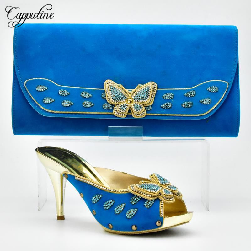 Capputine New Design Italian Woman Shoes And Bags Set For Wedding High Quality Thin Heels Woman Shoes And Purse Set BL775C capputine italian fashion design woman shoes and bag set european rhinestone high heels shoes and bag set for wedding dress g40