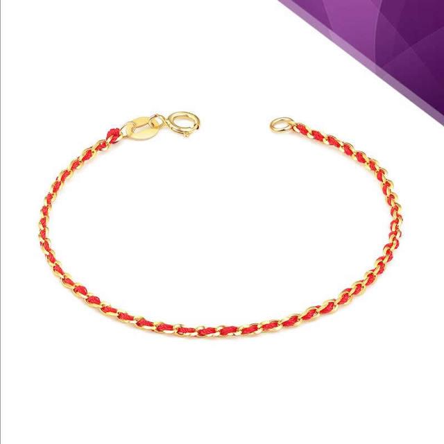4c4054cfed4d Las mujeres oro puro pulsera de hilo rojo de punto nueva llegada de las  mujeres de