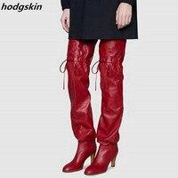 Высокие сапоги до бедра на высоком каблуке для подиума, женская зимняя обувь, женская обувь, сапоги выше колена, свободные удобные зимние вы