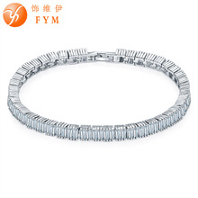 FYM Brand Women Bracelet Silver Color 1 Row Clear 5 mm AAA Cubic Zircon Bracelet High quality Jewelry Christmas Gift FYMBR0177 fym round bracelet silver rose gold color clear aaa cubic zirconia bracelet chain cz bracelet women 18cm jewelry accessories