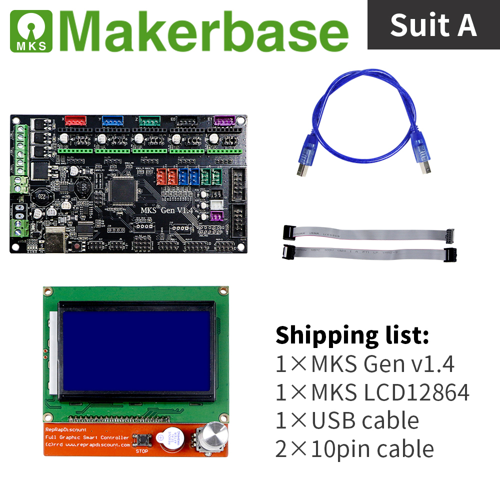 MKS Gen v1 4 and LCD12864 kits for 3d printers developed by Makerbase
