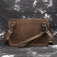 Men Vintage crazy horse leather Messenger bag iPad mini case Real leather small shoulder bag Handy Clutch wallet Bag With chain