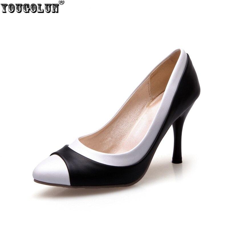 YOUGOLUN woman fashion pointed toe Thin high heels pumps women black white mixed colors summer autumn