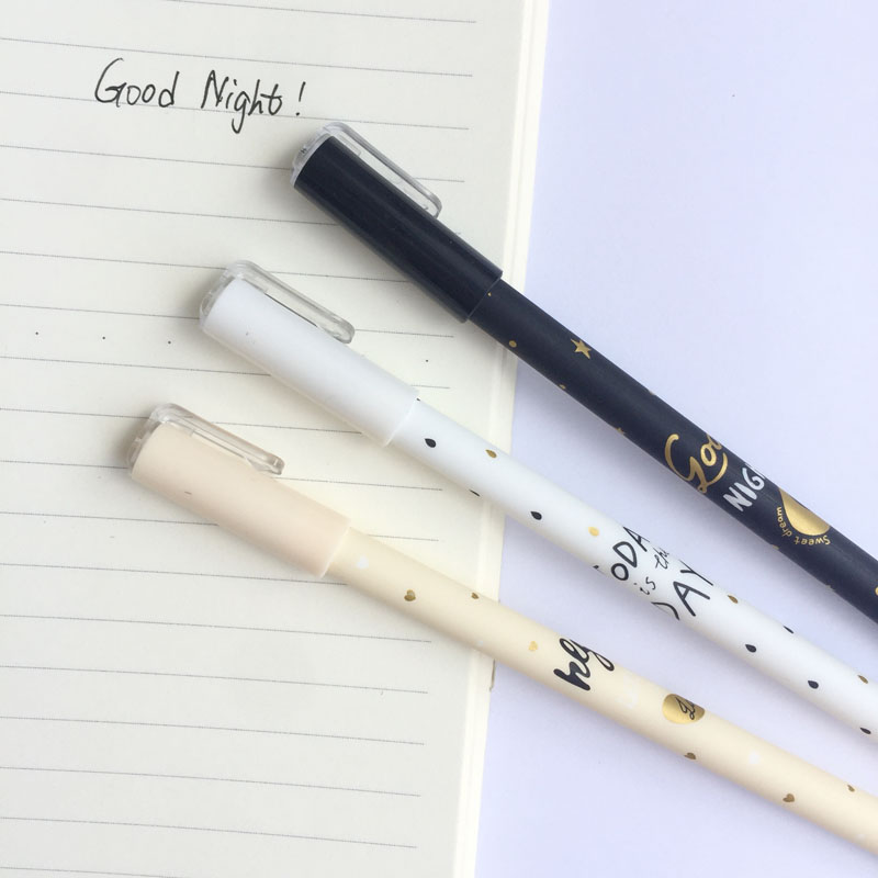 3X Sweet Pastel Starry Sky Moon Heart Gel Pen Rollerball Pen School Office Supply Student Stationery Black Ink 0.5mm