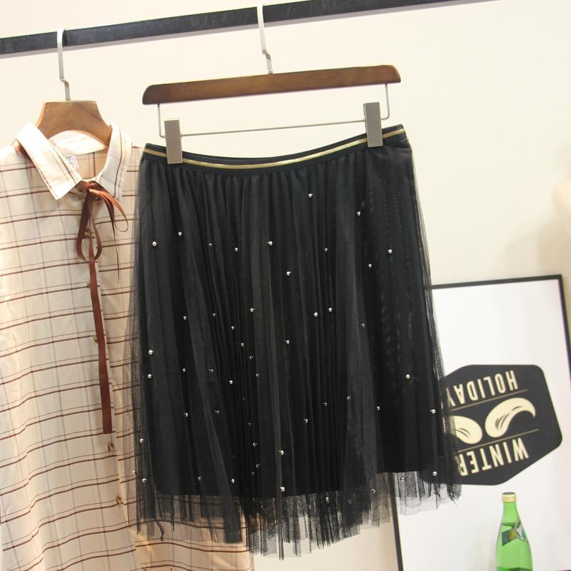 1SL 2019 summer large size women s mesh skirt new plus fertilizer to increase loose bead