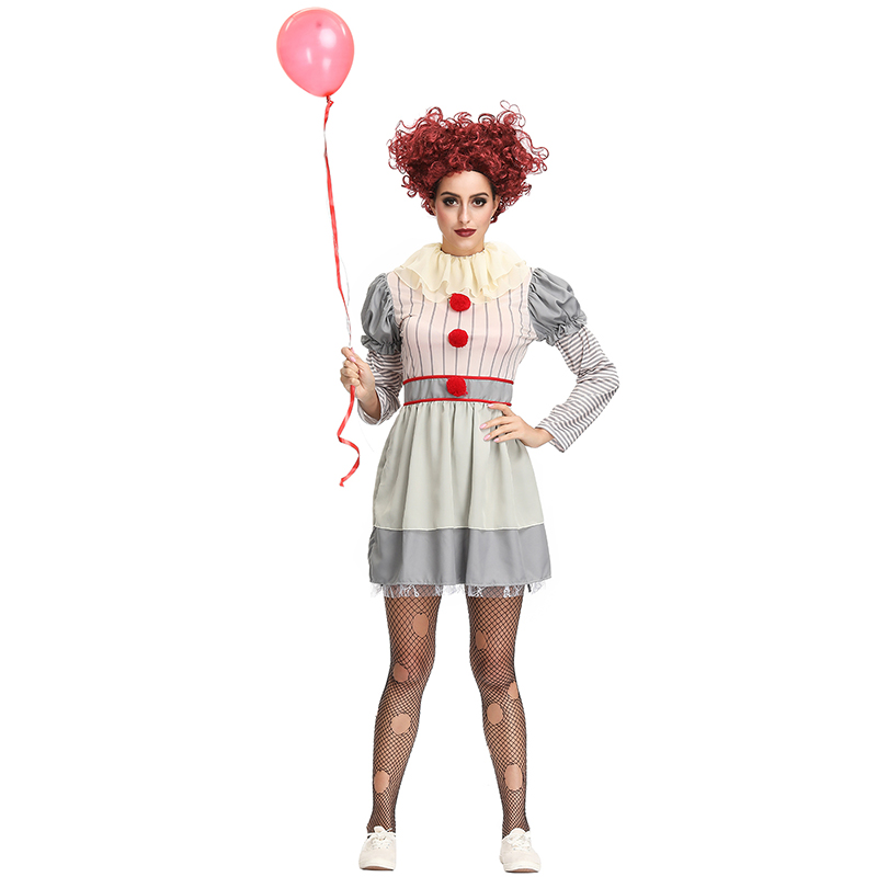 Women Halloween Horror Stephen King It Clown Pennywise Costume Costume Adult Ladies Carnival Fancy Party Dress Up Outfit