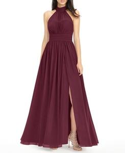 Image 2 - Robe Demoiselle Dhonneur Burgundy Bridesmaid Dresses 2020 Long Chiffon Dress for Wedding Party Women Wedding Guest Dress