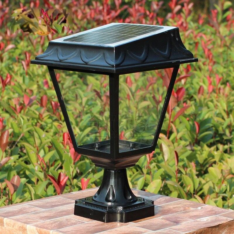 Vintage 7 LED solaire alimenté jardin extérieur/voie/pelouse lampe coulée en aluminium verre LED Yard lumières solaires