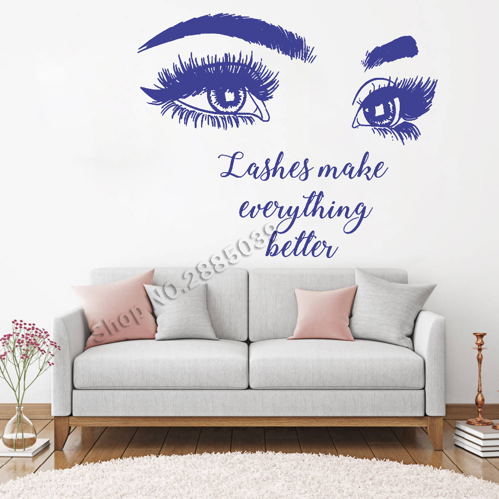 Quotes On Sofa Us 10 97 25 Off Beautiful Big Eye Eyelashes Wall Stickers Make Up Quotes Beauty Salon Wall Decal Removable Vinyl Sofa Background Decor New Lc466 In