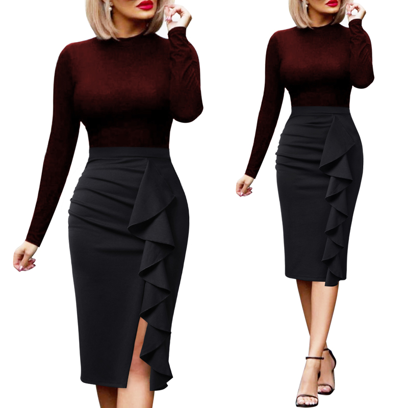 93d428d3b52 Color  Women Elegant Ruched Ruffle High Waist Casual Skirt Lady OL Work ...