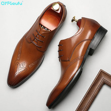 QYFCIOUFU Summer Fashion formal shoes men Genuine Leather Mens dress Classic Vintage Wedding Office oxford for