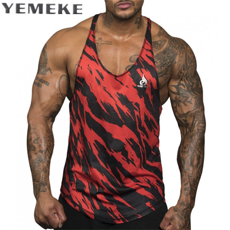 YEMEKE Quick dry 2017 summer Singlets Camouflage   Tank     Tops   Shirt Bodybuilding Equipment Fitness Men's size M, L, XL, XXL