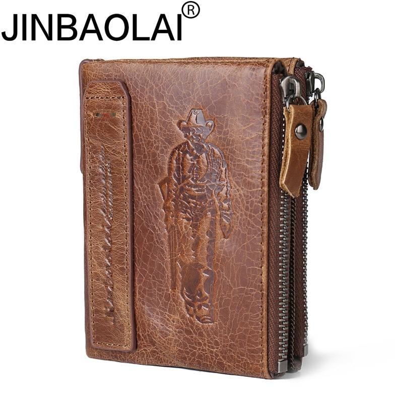 New Genuine Leather Men Wallets 2017 Hunter Short Wallet Men High Quality Purse Vintage double zipper Male Wallet Card Holder