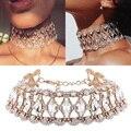 Lujo flor del hueco de cristal rhinestone choker collar collares mujeres collar de cadena de plata de oro joyería de la boda para el regalo del partido