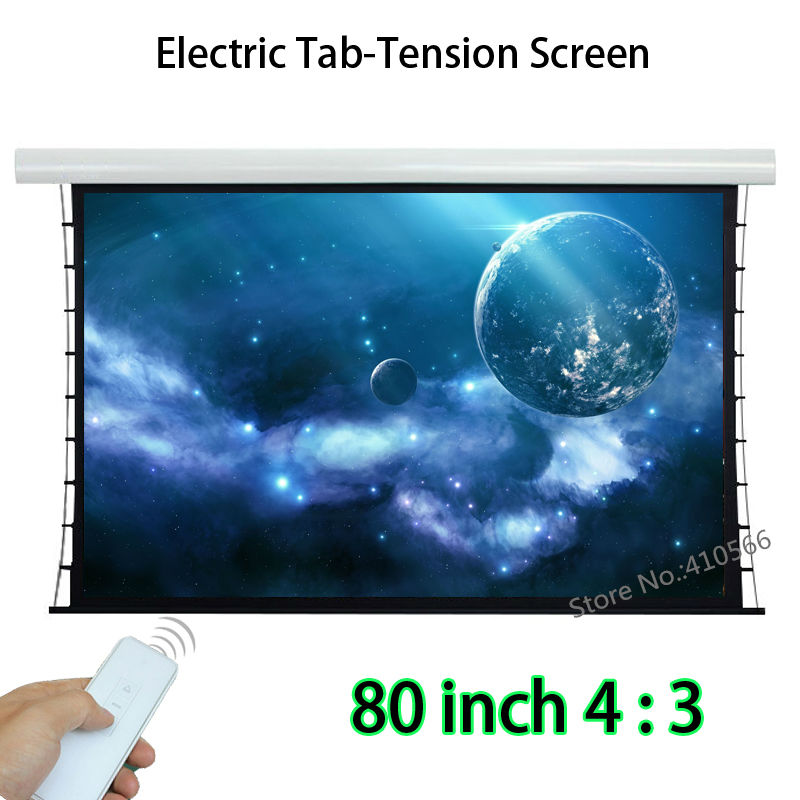 Wireless Remote Control 80inch 4:3 Tab Tension Screen With 12V Trigger For Office Education Room