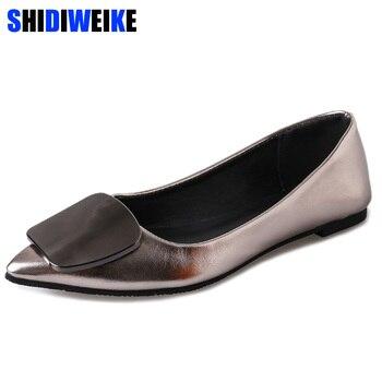 distribuidor mayorista 63772 0ac63 2019 zapatos planos de Metal con hebilla para mujer, mocasines, zapatos de  charol para mujer, zapatos casuales con puntera las mujeres