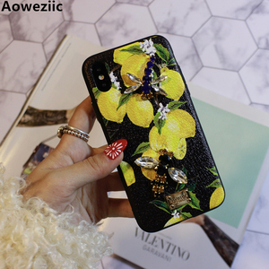 Image 1 - Aoweziic Hot Flower lemon For iPhone X XS MAX XR mobile phone shell Dragonfly butterfly 6S 7 8Plus water drill protection sleeve