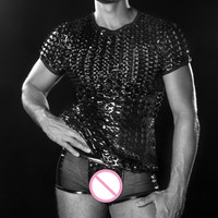 2017 Man Underwear Black Faux Leather Sexy Vinyl Lingerie Set Erotic See Through Hole Top Transparent
