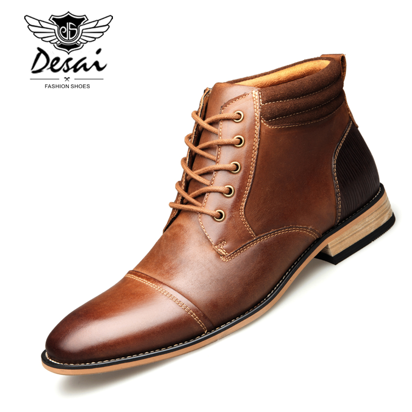 DESAI High Boots Men s Fashion Casual High Shoes Winter Top Quality Genuine Leather Boots Large