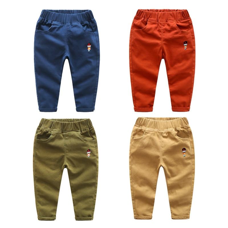 Spring Autumn Kids Pants Boys Pants Linen Cotton Kids Leggings Kids Clothes Casual Embroidery Trousers Little Boys Sport Pant 6Y