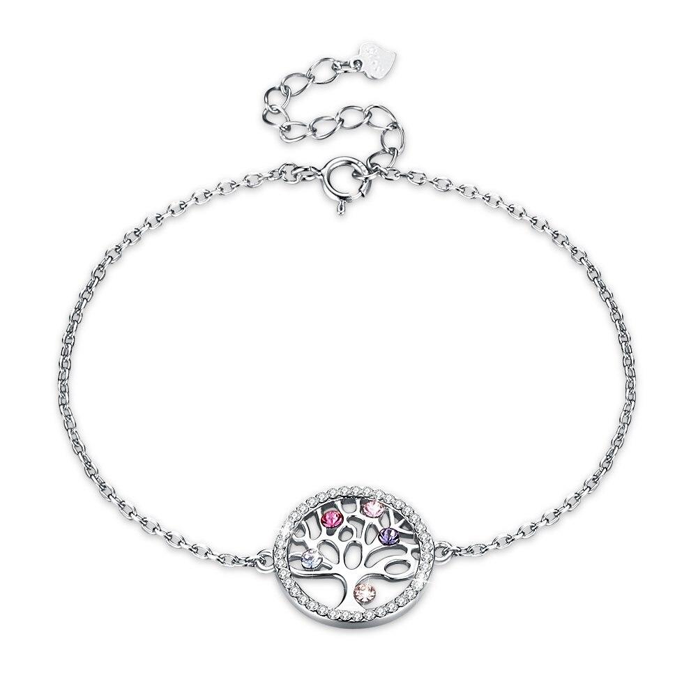 ea836872dad2 Cristal de Swarovski Árbol de la vida colgantes pulseras para mujer moda  925 Cadena de plata de ley ...