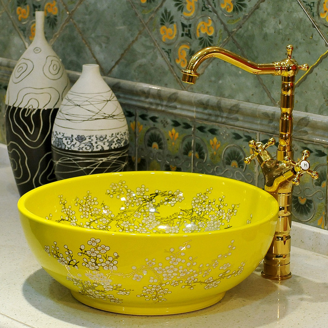 Yellow Europe Style Handmade Red Color Countertop Ceramic Bathroom Wash  Basin Bathroom Sink Art Wash Bowl