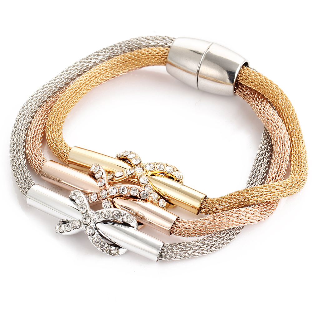 South Korea gold wire mesh crystal twist flower 8 word cross magnet buckle three color multi layer Bracelet new hand jewelry