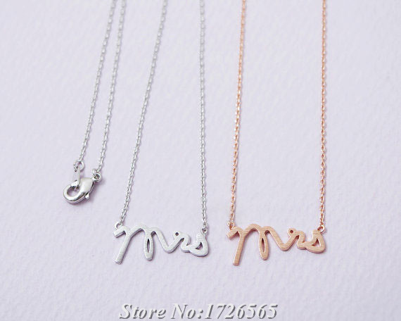 Hippie Letters Mrs Necklace Boho Chic Long Thin Chain Collares Wedding Gift Pendant Necklaces For Women Jewelry best friend