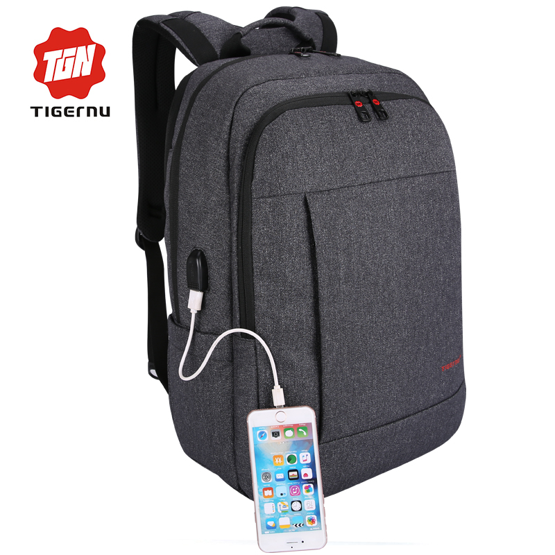 ФОТО 2017 Tigernu Anti-thief USB charging 15.6inch laptop backpack for women Men Backpack school backpack Bag for Male Mochila