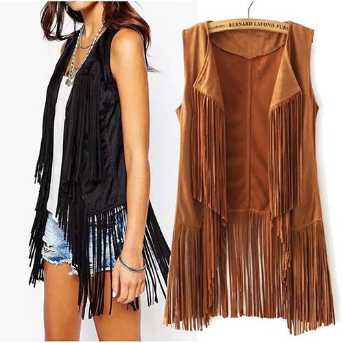 Women Autumn Fashion Suedette Sleeveless Tassel Fringed Jacket Vest Waistcoat Gift