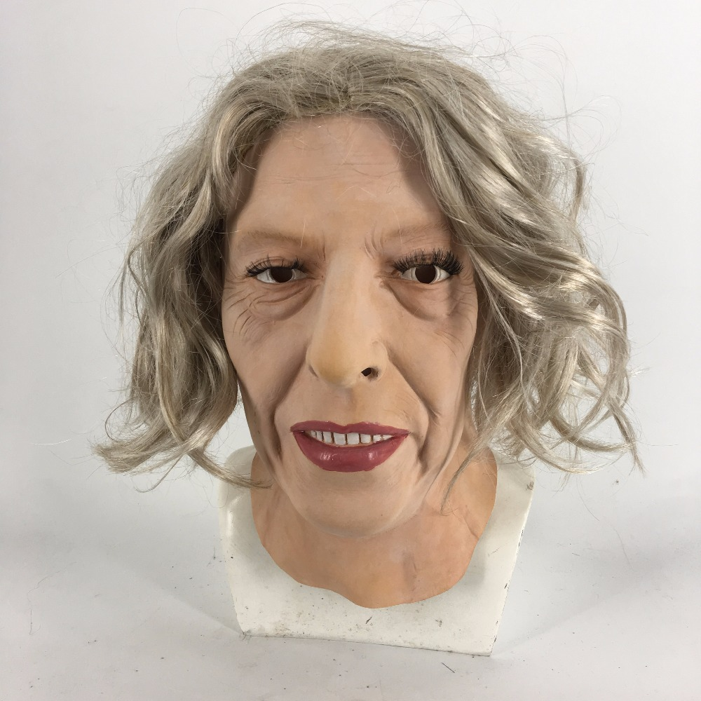 OLD LADY WOMAN CHINLESS HEAD MASK WITH CHINSTRAP LATEX HORROR HALLOWEEN