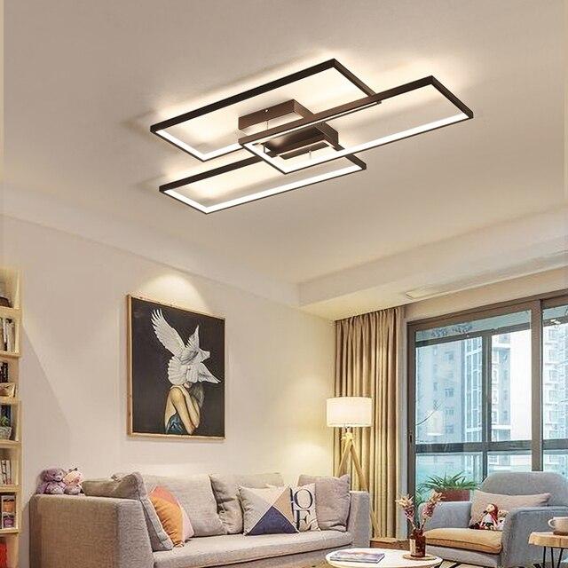 NEO Gleam Rectangle Black/White Color Modern Led Chandelier for living room bedroom 110V 220V deco Dimmable Ceiling Chandelier