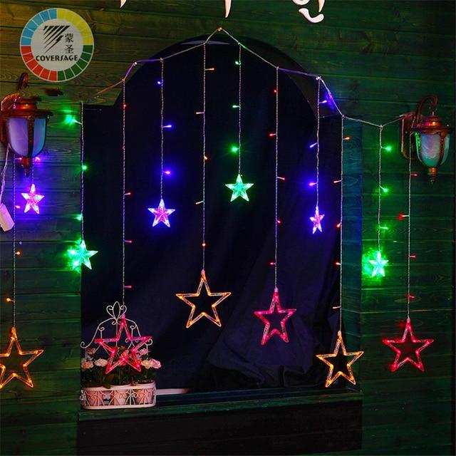 48fd6cf4373 Coversage 138 Led Hada cadena Luces cortina Girnaldas Luces Navidad Led  árbol de Navidad decoración jardín