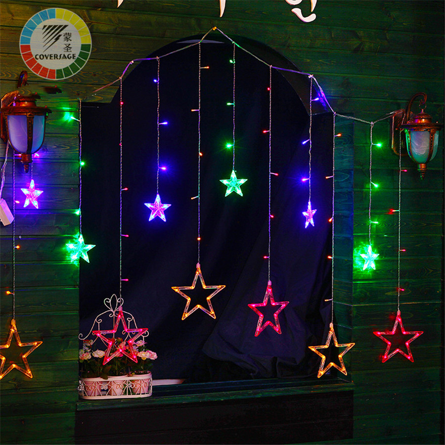 Coversage 138Leds Fairy String Lights Curtain Girnaldas Luces Navidad Led Christmas Tree Decoration Garden Outdoor Decorative snowy christmas tree pattern shower bath curtain