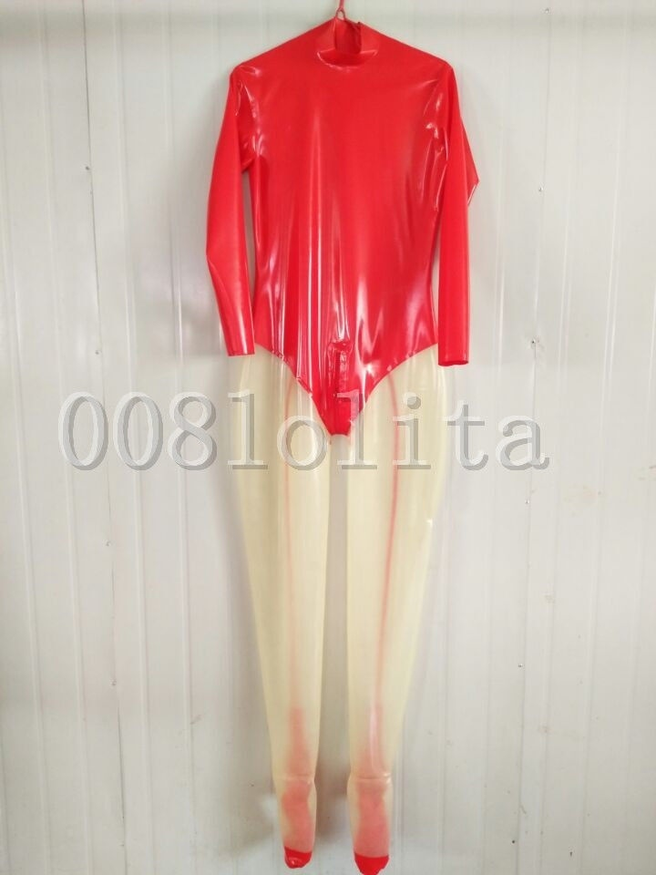 Latex Rubber Beautiful Red and Transparent Catsuit Full Body Size XXS~XXL