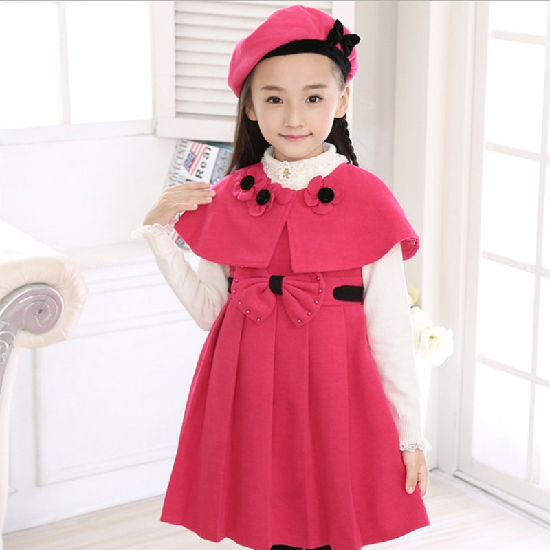Autumn Winter Kids Formal Bow Dress For Girls Princess Birthday Party Rose Red Dress Clothing Ceremonies Costume Girl Gown Dress girls europe and the united states children s wear red princess long sleeve princess dress child kids clothing red bow lace