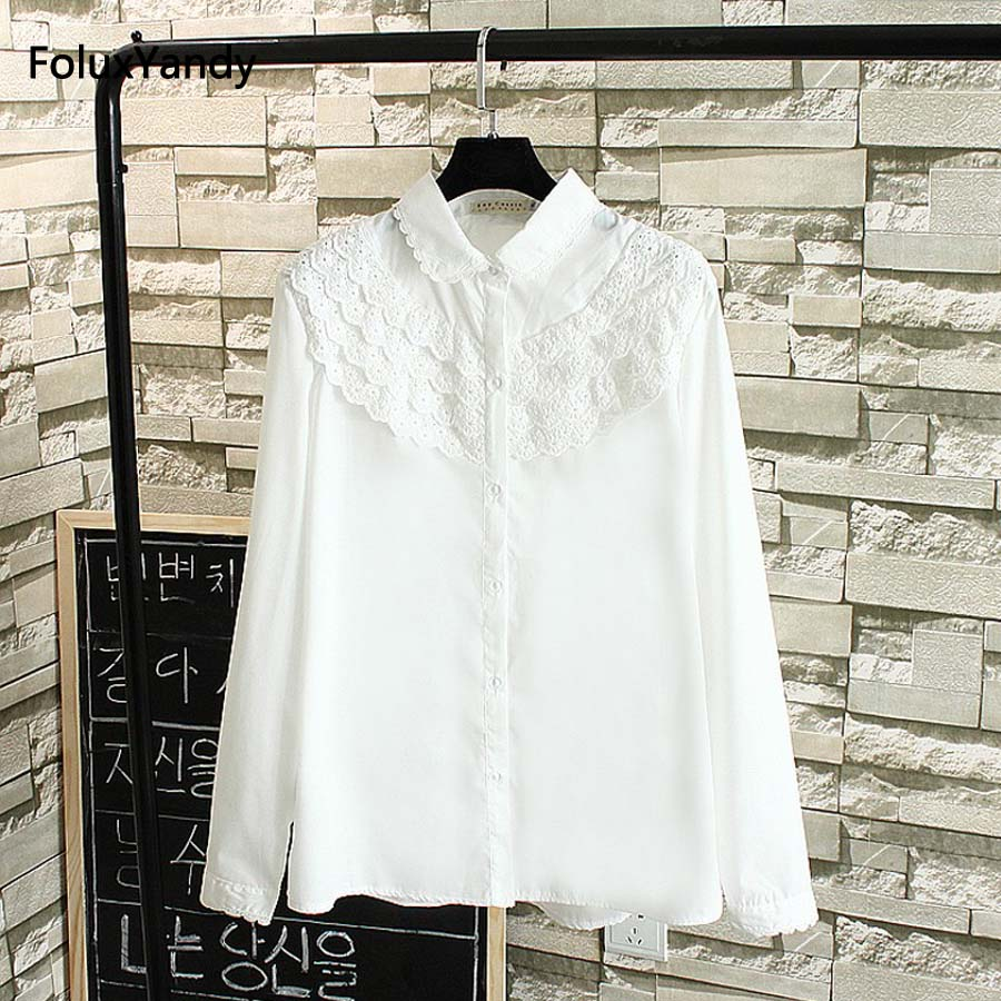 Lace   Blouse     Shirt   Women Plus Size 3 4 5 XL Casual Girls Loose Long Sleeve   Blouses     Shirts   Blusas White TY1532