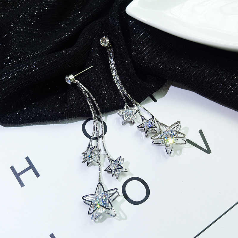 2018 Hot Sale Fashion Jewelry Five-pointed Star Brincos Oorbellen Long Statement Tassel Zircon Drop Earrings For Women Gift