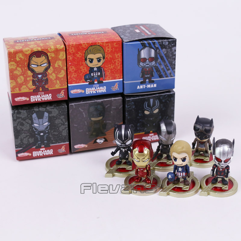 Hot Toys Cosbaby Captain America Iron Man Ant Man War Machine Batman Black Panther Mini PVC Figures Toys 6pcs/set Boxed 5.5cm captain america civil war iron man 618 q version 10cm nendoroid pvc action figures model collectible toys