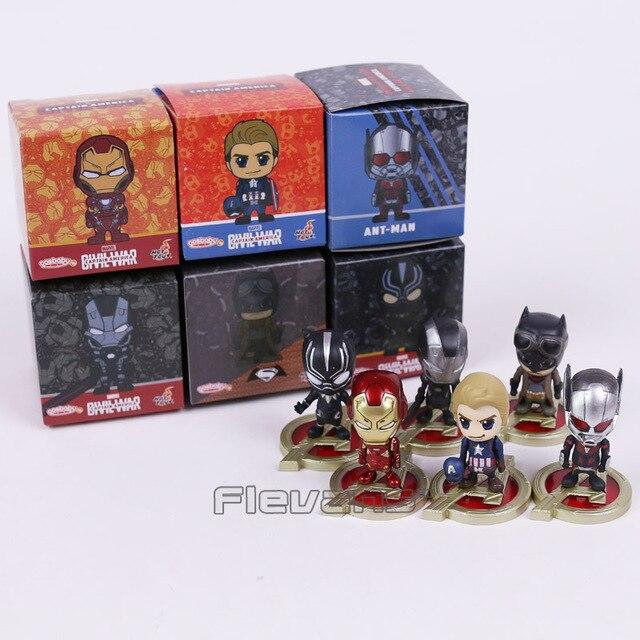 Hot Toys Cosbaby Captain America Iron Man Ant War Machine Batman Black Panther Mini PVC