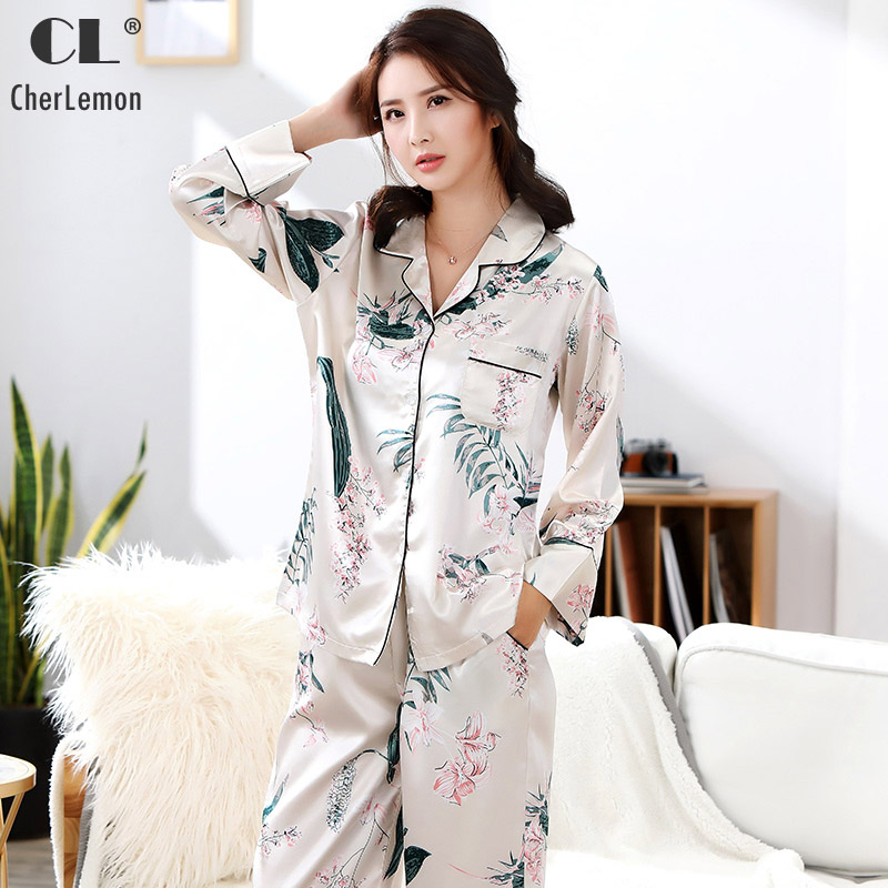 CherLemon Womens Spring Silk Satin Slip Pajamas Set Two Pcs Long Sleeve Floral Print Sleepwear Luxurious Light Weight Loungewear ...