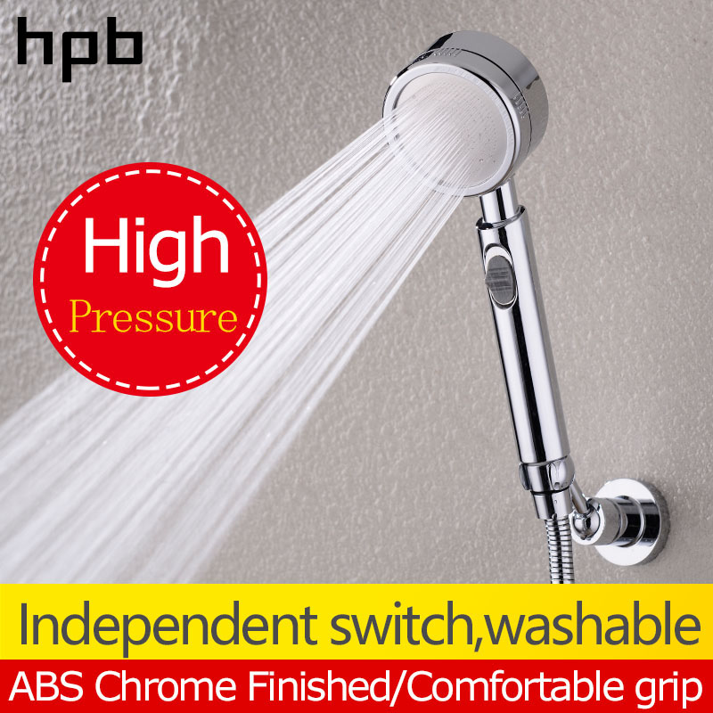HPB High Pressure HandHeld Shower Head Water Saving ABS Chrome Round Bath Hand Shower Bathroom Accessories banheiro HP7111