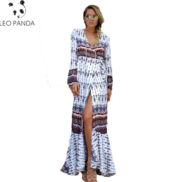 31e6d85b0e Fashion Women Summer Boho Floral Print Beach Long Maxi Dresses Sexy Split  Tunic Casual Loose Vintage