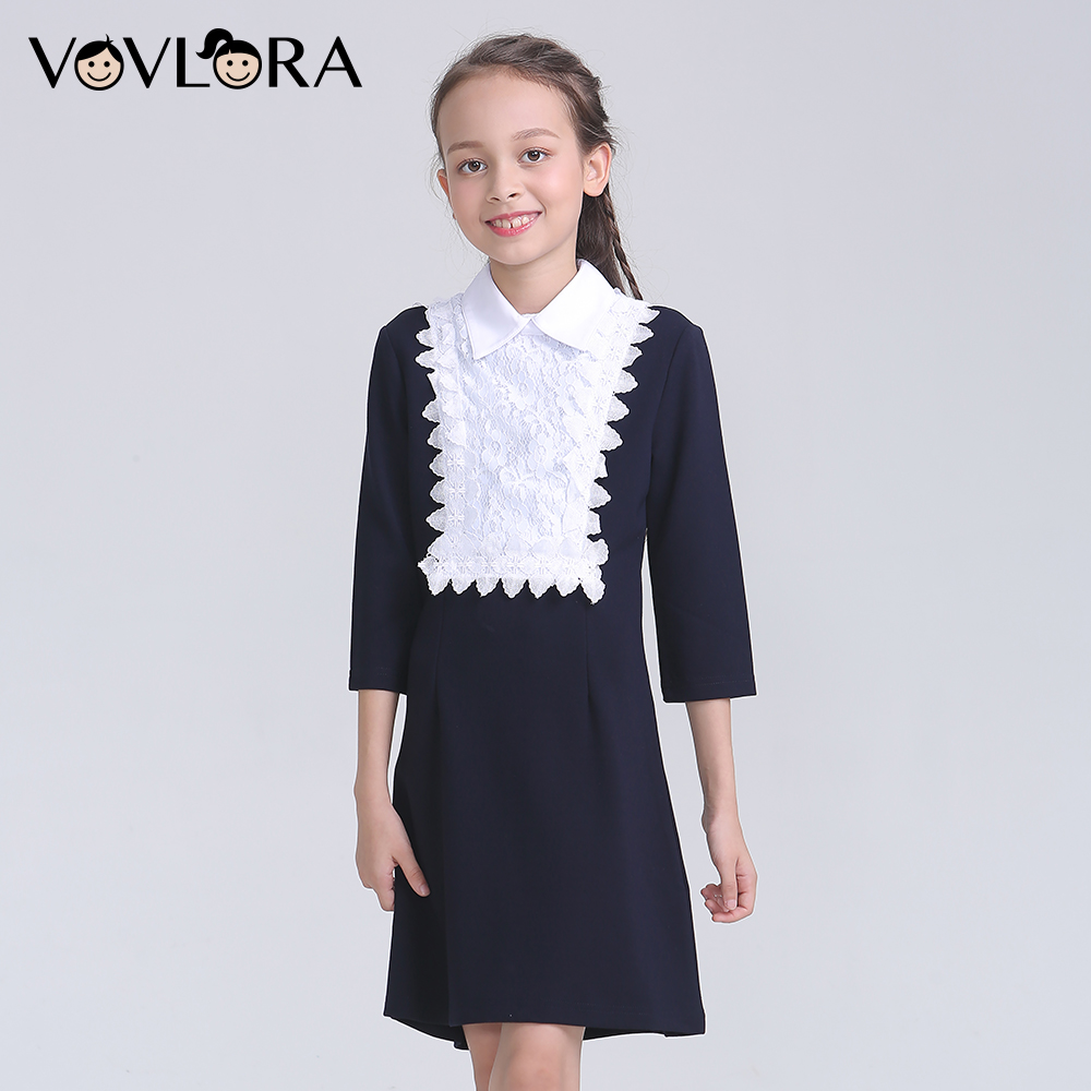 Long Sleeve Detachable Collar School Dress For Girl Lace Kids Dresses Autumn 2018 School Uniforms Size 9 10 11 12 13 14 Years ladylike long sleeve stand up collar lace and chiffon splicing solid color dress for women