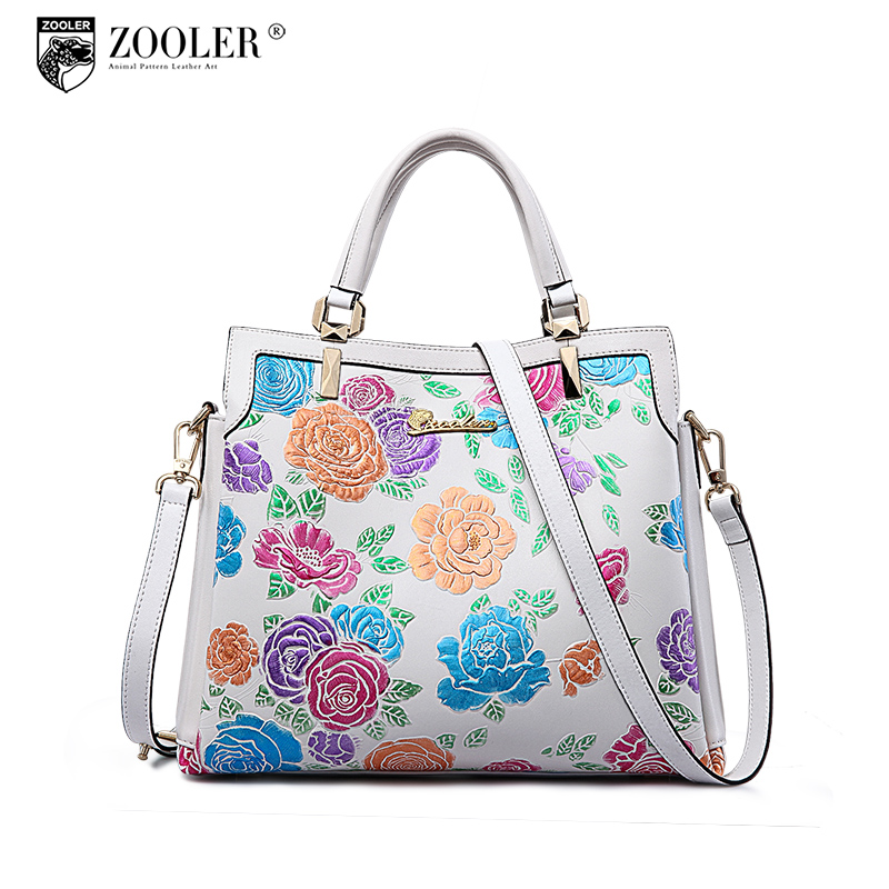 ZOOLER genuine leather bag brands top handle woman bag luxury embossed floral handbag new fashion shoulder bags #2951 2017 120cm diy metal purse chain strap handle bag accessories shoulder crossbody bag handbag replacement fashion long chains new