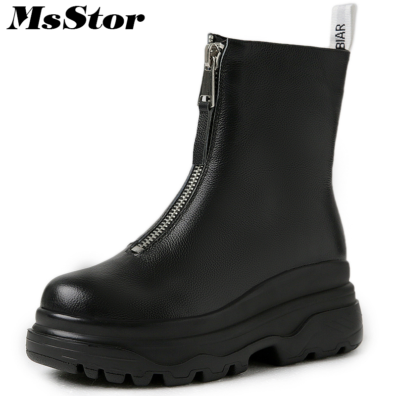 MsStor Women Boots Fashion Round Toe Thick Bottom Ankle Boots Women Winter Shoes Zipper Platform Short Plush Boot Shoes For Girl msstor women boots round toe wedges ankle boots women winter shoes thick bottom lace up short plush black boot shoes for woman